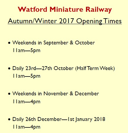 Autumn/Winter 2017 Opening Times: Weekends in September & October 11am - 5pm, Daily 23rd - 27th October (Half Term Week) 11am - 5pm, Weekends in November & December 11am - 4pm, Daily 26th December - 1st January 2018 11am - 4pm